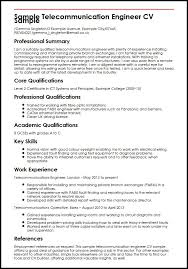 Resume About Me Examples Fascinating Sample Telecommunication Engineer CV Sample MyperfectCV