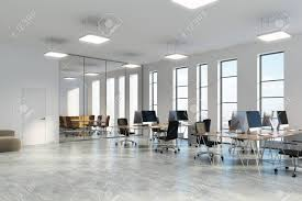 Office corner Living Room Open Space Office Corner With White And Glass Walls Concrete Floor And Narrow Windows 123rfcom Open Space Office Corner With White And Glass Walls Concrete