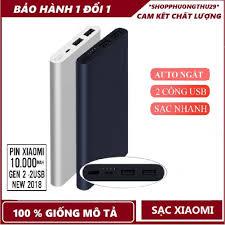 Pin dự phòng Xiaomi 10.000mAh Gen 2, 2 cổng USB - Chính Hãng Xiaomi-Bảo  hành 1 năm - Pin sạc dự phòng di động