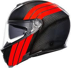 Agv Sport Modular Carbon Stripes Flip Up Helmet W Sun Visor Black Red