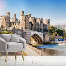 conwy castle in wales wall mural