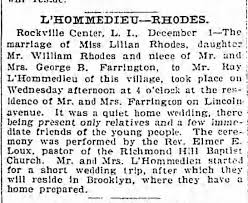wedding announcement of Raymond L'Hommedieu and Lillian Rhodes on December  1, 1899. - Newspapers.com