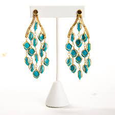 kara ross turquoise 14k gold taj chandelier earrings