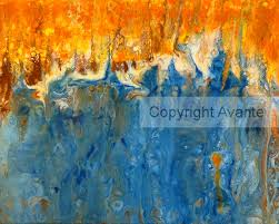 melting sunset art print abstract acrylic fluid pour painting copyright avante art