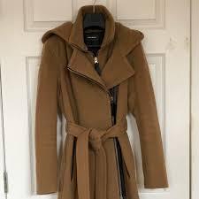 Mackage Jayna Leather Trim Belted Coat Camel