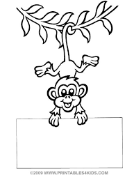 Small Picture Hanging Monkey Template Coloring Page Free Download