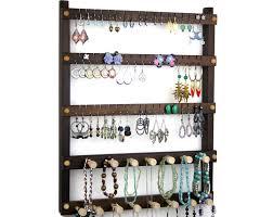 Hanging Necklace Organizer Jewelry Holder Peruvian Walnut Earring Holder Hanging