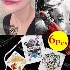 Suicide Squad Batman Movie Harley Quinn Joker The Same Paragraph Waterproof Tattoo Stickers Body Art6 Pcs