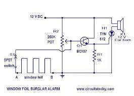 burglar alarm circuit and projects diy burglar alarm circuit diagram parts list