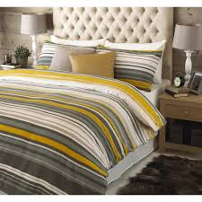 striped reversible brushed cotton duvet cover set in ochre yellow grey