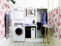 ... Exciting Laundry Room Design : Surprising Laundry Room Decoration With  Dark Pink And White Wallpaper Design ...