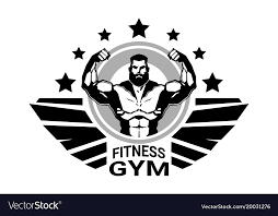Fitness Club Or Gym Logo With Strong Athletic Man