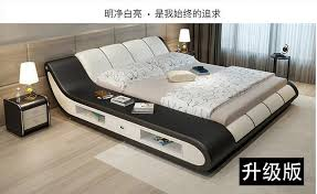 real Genuine leather bed frame Modern Soft Beds with storage Home ...