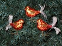 3 Tlg Glas Vogel Set In Ice Orange Gold Christbaumkugeln Weihnachtsschmuck Christbaumschmuck