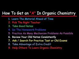 how to get an a in organic chemistry