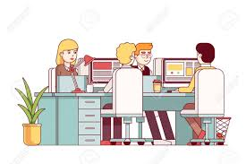 combined office interiors desk. Young Man And Woman Sitting At Combined Desks Working On Desktop Pc. Open Space Office Interiors Desk M