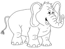 Animal Coloring Pages Smiling Elephant Printable