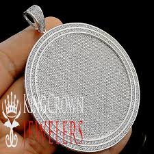 details about bling king mens 14k white gold finish medallion style custom big charm pendant