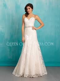 strapless ivory lace long train a line sweetheart classic wedding
