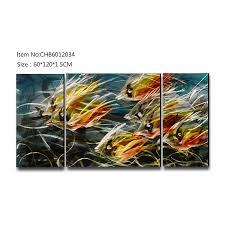 china school of fish 3d metal oil