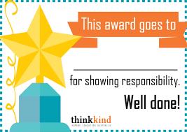Kids Award Certificate Printable Certificate Responsibility Award For Kids