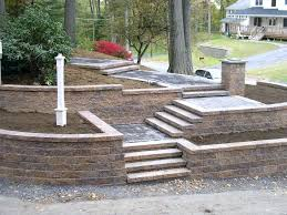 large versa wall with staircase custom retaining walls and landscaping inc rochester mn 2