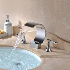 bathroom lavatory faucets. Chrome Finish Contemporary Waterfall Bathroom Sink Faucets With Two Handles Lavatory