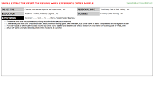 Extractor Operator Free Career Templates Downloads Job Titles