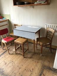 5 Items 1950s Formica Kitchen Table W Drop Down Flap 2 X Matching Chairs 1 X Stool Plus Extra Chair In Harrow London Gumtree