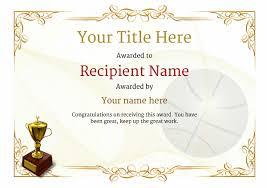 Basketball Certificate Template Under Fontanacountryinn Com