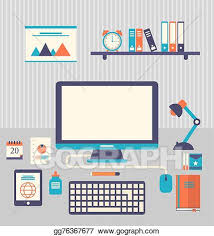 trendy office supplies. Flat Icons Of Trendy Everyday Objects, Office Supplies And Business Items  For Daily Usage E