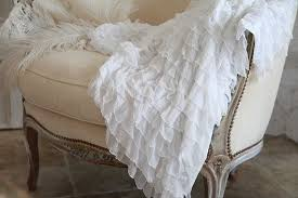 White Ruffle Throw Blanket