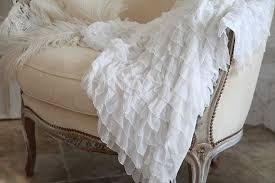 White Ruffle Throw Blanket