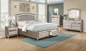 Bling Game Upholstered Storage Bed 6 Piece Bedroom Set in Metallic Platinum Finish by Coaster - 204180