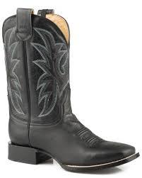 zoomed image roper men s loaded sidewinder ccs burnished black leather cowboy boots square toe black