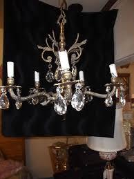 vintage antique underwriters laboratories brass crystal chandelier gorgeous 476409890