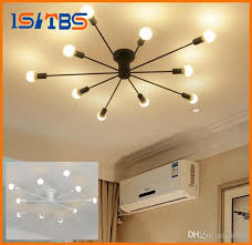 surface mounted iron pipe ceiling lamp led bulb optional industrial loft black white living room retro foyer ceiling light pendant light kitchen