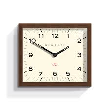 midcentury square wall clock dark wood  newgate clocks  mr davies