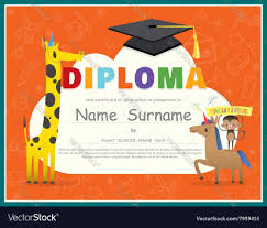 primary school kids diploma certificate royalty vector primary school kids diploma certificate vector image