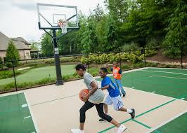 backyard basketball court with outdoor basketball court flooring by sport court
