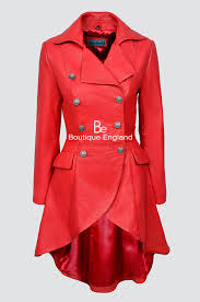 edwardian 3491 p red napa las women washed real leather jacket coat gothic