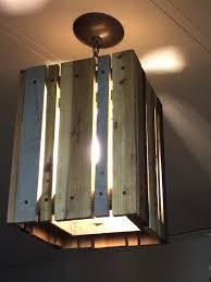 low cost wooden pallet pendant light