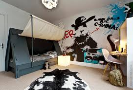 Tent Bed And Graffiti Wallpaper For Cool Boyu0027s Bedroom
