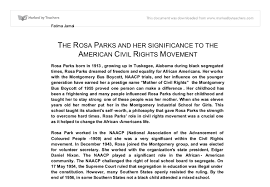 rosa parks and her significance to the civil rights movement a  document image preview