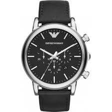 ar1828 classic chronograph emporio armani mens watch watches2u emporio armani ar1828 mens classic chronograph black watch
