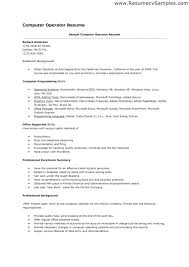 Resume Format For Computer Operator Job Resume Template Ideas