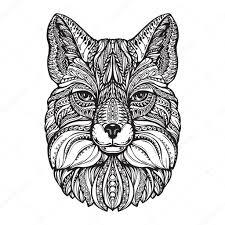 нарисованный лис лиса голову рука нарисованные эскиз животных