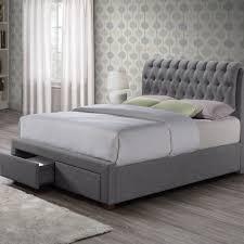 black upholstered sleigh bed. Sorel Fabric Upholstered 2 Drawer Bed Black Sleigh