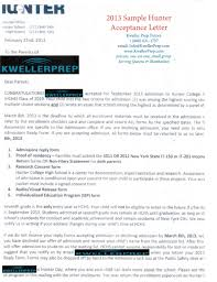 kweller prep blog nyc middle school high school and college hunter entrance exam acceptance letter
