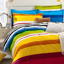 rainbow color stripes boys bedding set for single double bed flat bedsheet mattress cover duvet case pillowcases 4pc 5pc sets in bedding sets from home